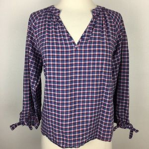 Madewell Plaid Popover Top Medium